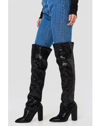 Boohoo - All Over Sequin Knee Boot - Lyst