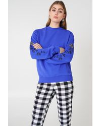 NA-KD - Rose Embroidery Sleeve Sweater Cobolt - Lyst