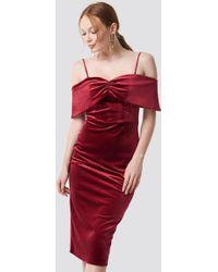 8b9de286abffd Trendyol - Velvet Evening Dress Red - Lyst