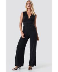 Mango - Palm Jumpsuit Black - Lyst