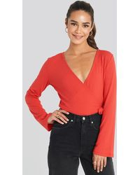 NA-KD - Ribbed Wrap Tie Top Red - Lyst