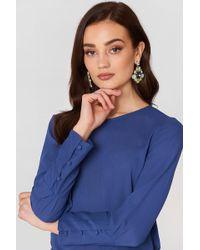 Mango - Buttoned Sleeves Blouse Medium Blue - Lyst