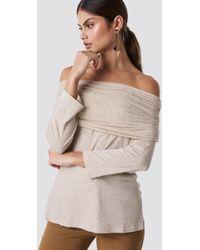 NA-KD - Offshoulder Light Knitted Sweater Beige - Lyst