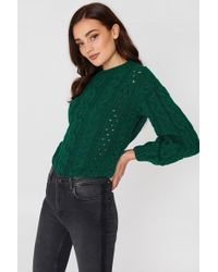 Mango - Openwork Cable-knit Sweater Green - Lyst