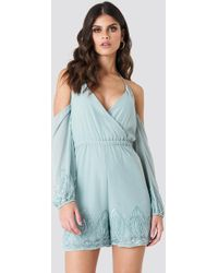 NA-KD - Cold Shoulder Embellished Playsuit - Lyst