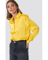 NA-KD - Long Sleeve Satin Shirt - Lyst