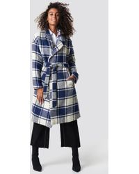 NA-KD - Checked Blue Coat Blue Check - Lyst