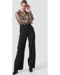 NA-KD - Fold Up Flared Pants Black - Lyst
