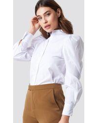 NA-KD - Puff Shoulder Cotton-blend Shirt White - Lyst
