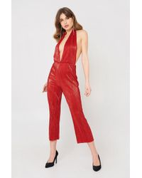 Oh My Love - Metallic Pleated Plunge Jumpsuit By - Lyst