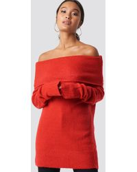 NA-KD - Offshoulder Folded Wide Sweater Red - Lyst