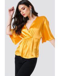 NA-KD - Ruched Detail Kimono Top Warm Orange - Lyst