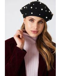 b8a6b58c45e9d NA-KD Faux Pearl Beret Hat Black in Black - Lyst