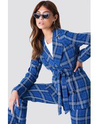 NA-KD - Tie Waist Checkered Blazer Blue Check - Lyst