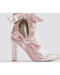 Lavish Alice - Velvet Cut Tie Ankle Boot Pink - Lyst