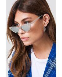NA-KD - Glittery Cat Eye Sunglasses Silver - Lyst