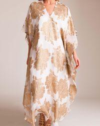 Marie France Van Damme - Silk Metallic Flower Caftan - Lyst