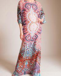 77b00cec8c Melissa odabash Printed Long Lace-neck Kaftan in Blue