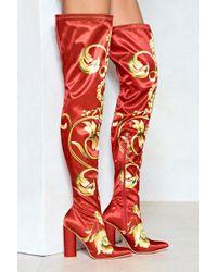 2955b935749 Lyst - Nasty Gal Velvet Thigh High Boot Velvet Thigh High Boot in Red