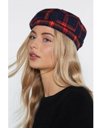"""Nasty Gal - """"stay On Top Plaid Beret"""" - Lyst"""