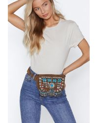 Nasty Gal - Want Caught In The Metal Suede Belt Bag - Lyst