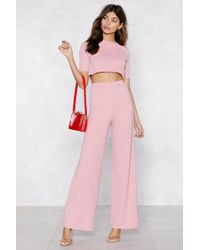 Nasty Gal | Settle The Score Crop Top And Trousers Set | Lyst
