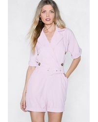 Nasty Gal - You Belt My Heart Tailored Romper - Lyst