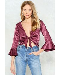 Nasty Gal - Please Be Shine Satin Crop Top Please Be Shine Satin Crop Top - Lyst