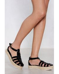 Nasty Gal Learn The Ropes Espadrille Sandal - Black