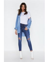 6a77b0bbc618 Nasty Gal Stripe By My Side Skinny Jeans in Blue - Lyst
