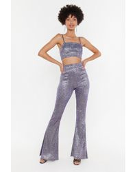 Nasty Gal - Let's Groove Glitter Crop Top And Trousers Set - Lyst