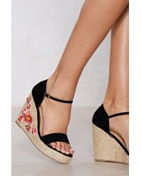 Nasty Gal - More Of A Grower Embroidered Wedge - Lyst