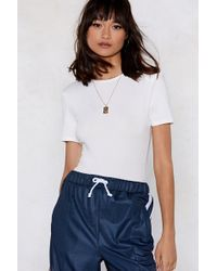 Nasty Gal - Straight From The Shoulder Padded Tee Bodysuit - Lyst