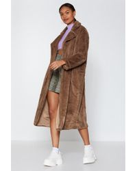 Nasty Gal - Go Long Faux Fur Coat - Lyst