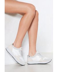Nasty Gal | One Step At A Time Metallic Trainer | Lyst