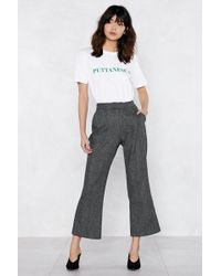 Nasty Gal - Couldn't Give Two Hoots Check Pants - Lyst