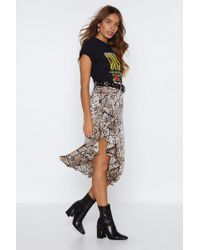Nasty Gal - Snake Your Time Ruffle Skirt - Lyst