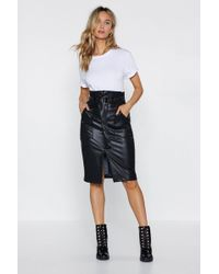 Nasty Gal - Paperbag In Action Faux Leather Skirt - Lyst