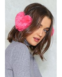 Nasty Gal - Faux Fur Heart Ear Warmers Faux Fur Heart Ear Warmers - Lyst