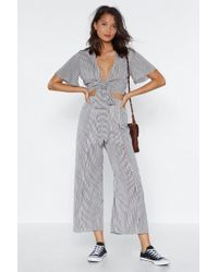 Nasty Gal - Don't Slit On The Fence Striped Crop Top And Trousers Set - Lyst