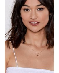 Nasty Gal - Cross Your Heart Necklace - Lyst