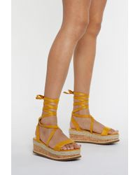Nasty Gal - Draw To A Close Wrap Cork Sandals - Lyst