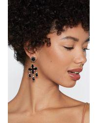 Nasty Gal - Diamante Cross Earrings - Lyst