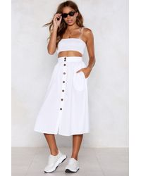 Nasty Gal - Button Up And At 'em Midi Skirt - Lyst
