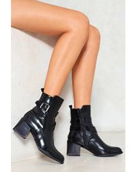 """Nasty Gal - """"take The Highway Faux Leather Ankle Boot"""" - Lyst"""
