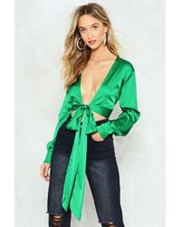 Nasty Gal - Tied Trying Satin Blouse - Lyst
