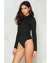 Nasty Gal - Stop Frontin' Lace-up Bodysuit - Lyst