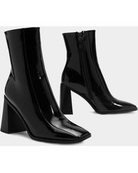 Nasty Gal - Square Up Patent Faux Leather Boot - Lyst