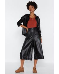Nasty Gal - We Love You Faux Leather Culottes - Lyst