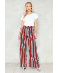 Nasty Gal - Stripe By Your Side Wide-leg Pants - Lyst